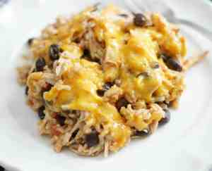 Cheesy Chicken Enchilada Rice Bake