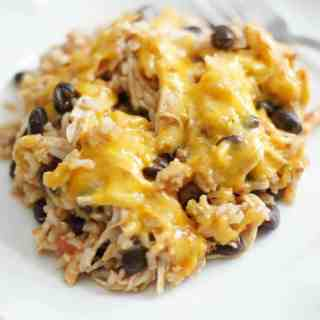 Cheesy Chicken Enchilada Rice Bake