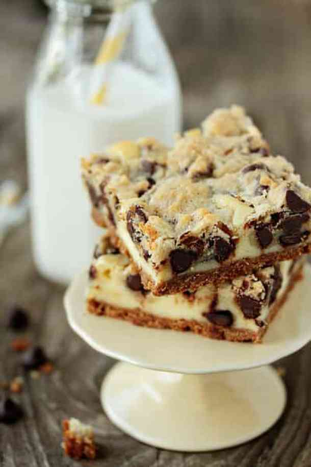 Cookie Dough Cheesecake Bars-- Part of 21 Recipes to make if you're OBSESSED with Cookie Dough!