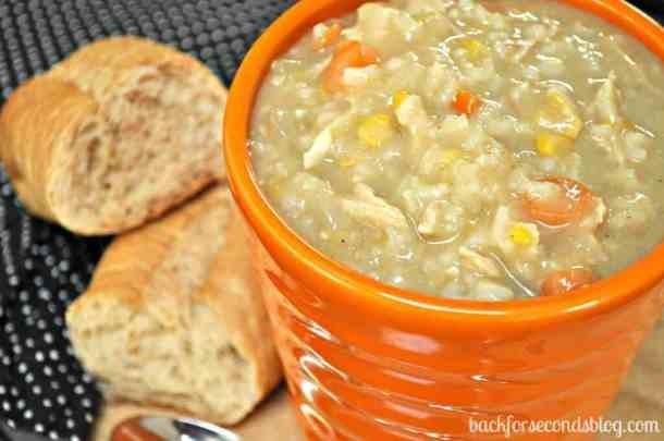 Easy Crock Pot Cream Chicken and Rice Soup