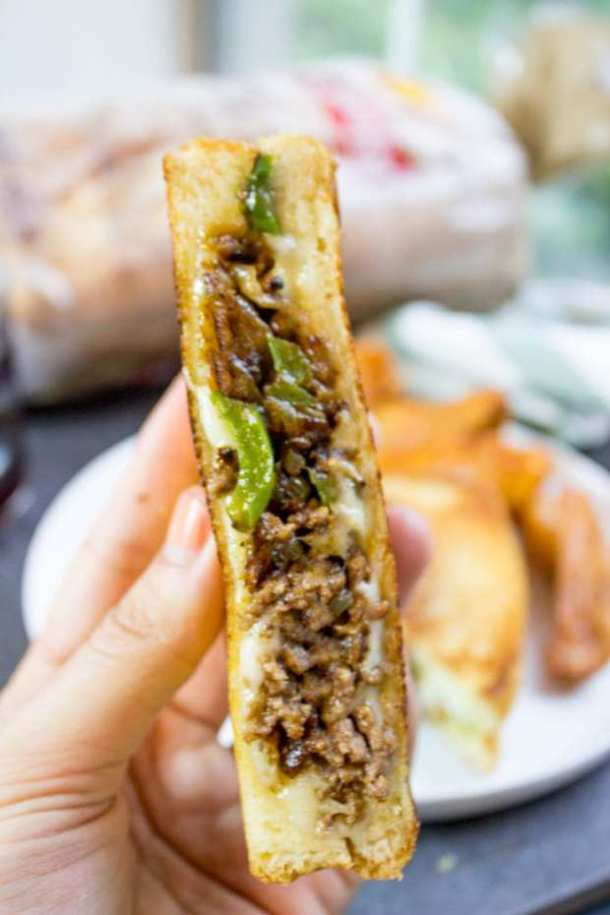 Ground Philly Cheesesteak Grilled Cheese -- Part of The Best Philly Cheesesteak Recipes