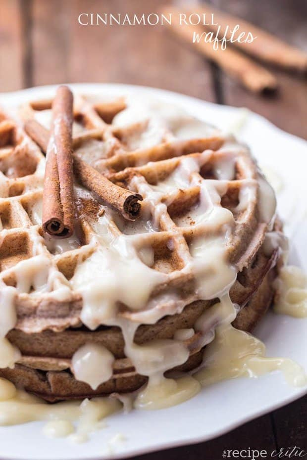 A delicious cinnamon waffle topped with cream cheese! Tastes like a cinnamon roll in waffle form!