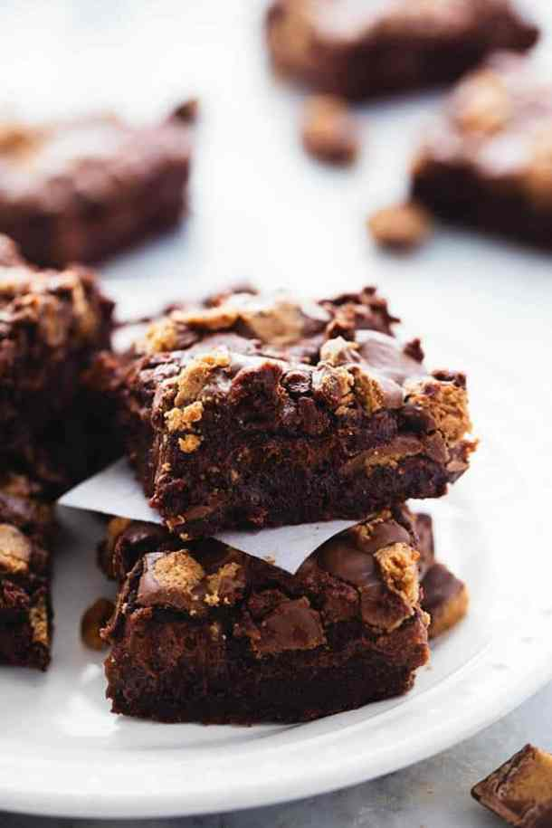 Hot Fudge Peanut Butter Cup Cheesecake Brownies -- Part of The Best Hot Fudge Dessert Recipes