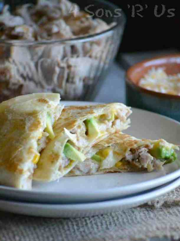 Sweet and Smoky Pork Quesadillas with Spicy Ranch Dressing