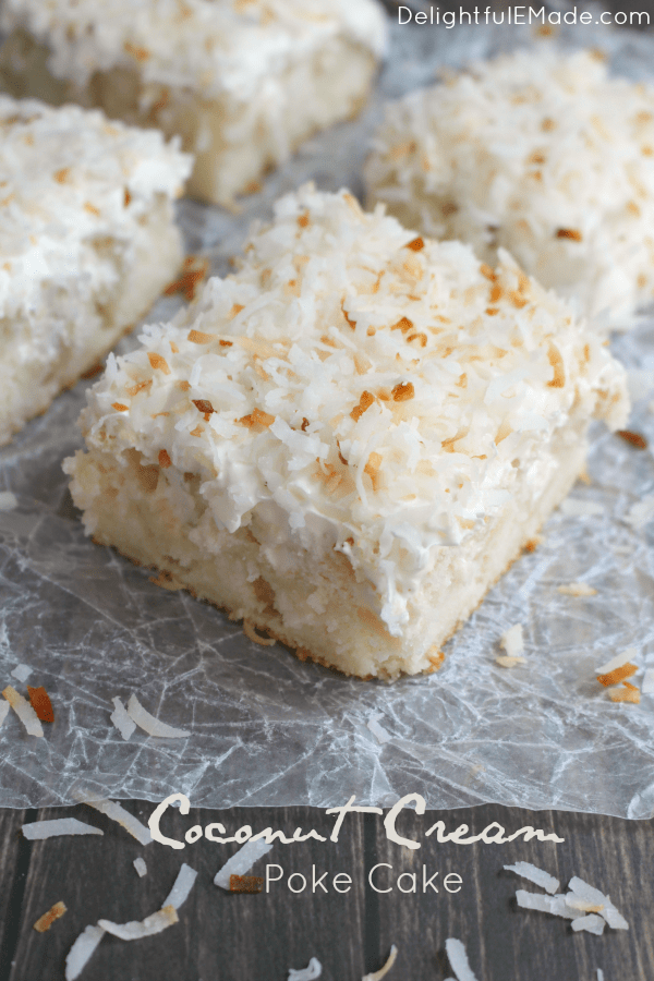 A dreamy, deliciouscoconut cakethat will have you coming back for seconds! ThisCoconut Cream Poke Cakeuses a simple white cake mix, then topped with cream of coconut, coconut whipped topping and sprinkled with toasted coconut for the ultimatecoconut cake recipe!