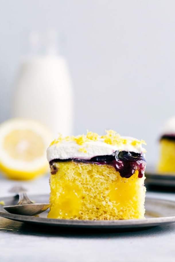 Lemon Blueberry Poke Cake -- Part of Super Moist Poke Cake Recipes