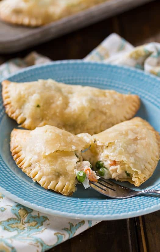 You'll love these Chicken Pot Pie Turnovers that you can eat with your hands. Several shortcuts make them super easy to make and they have a fabulously creamy filling.