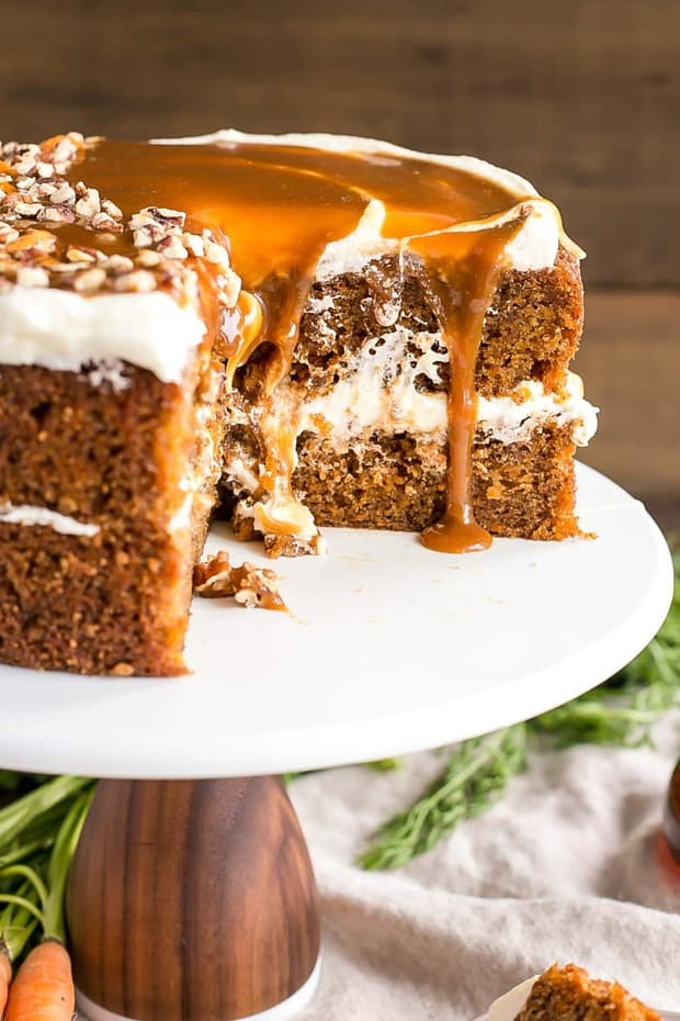 Spiced carrot cake layers infused with maple syrup and topped with maple caramel & cream cheese frosting.