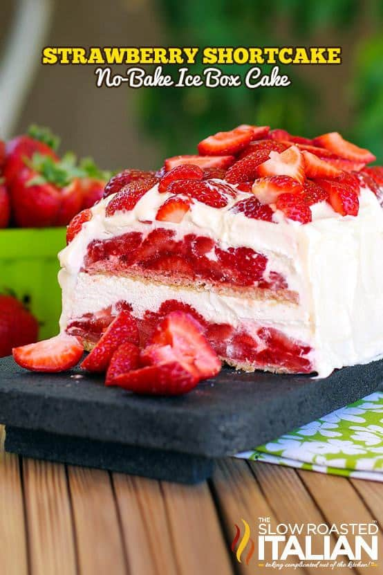 Layer upon layer of cookies, cream and luscious strawberries make up this insanely simple and delicious no bake strawberry shortcake ice box cake recipe. The fabulous vanilla whipped cream frosting will certainly knock your socks off.