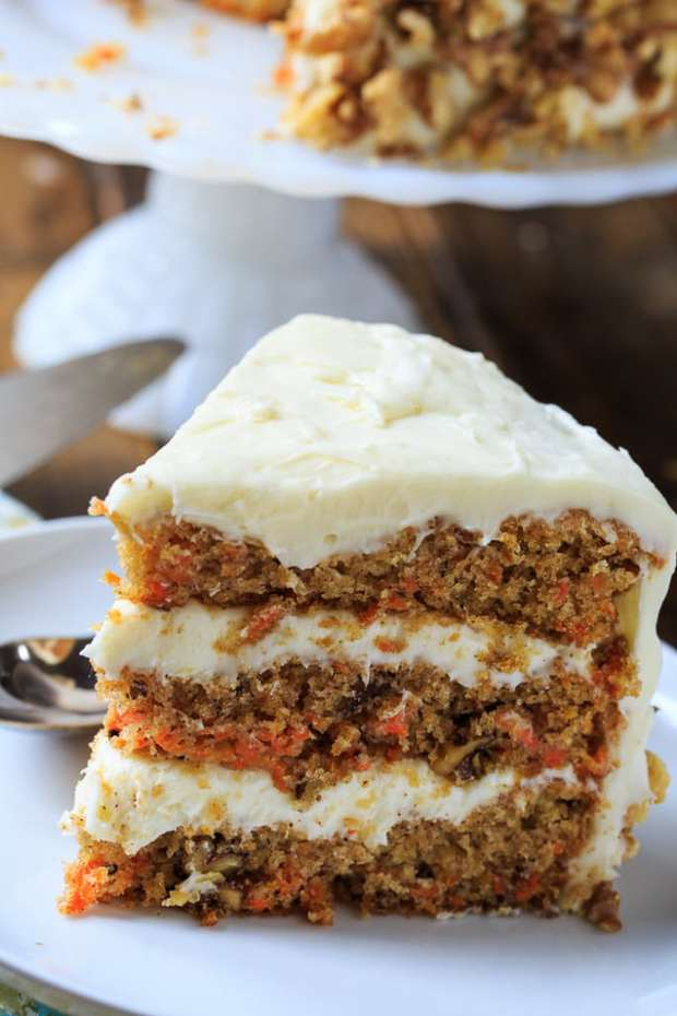 A moist 3-layer cake with toasted walnuts and tons of rich cream cheese frosting. Carrot Cake doesn't get any better than this.