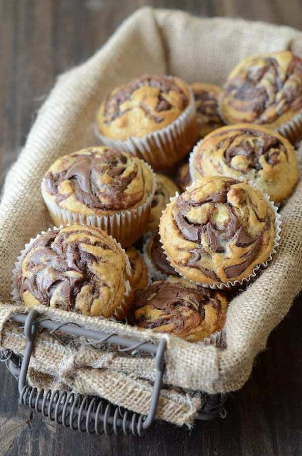 19. Nutella Banana Swirl Muffins-- Part of 30 The Best Nutella Recipes