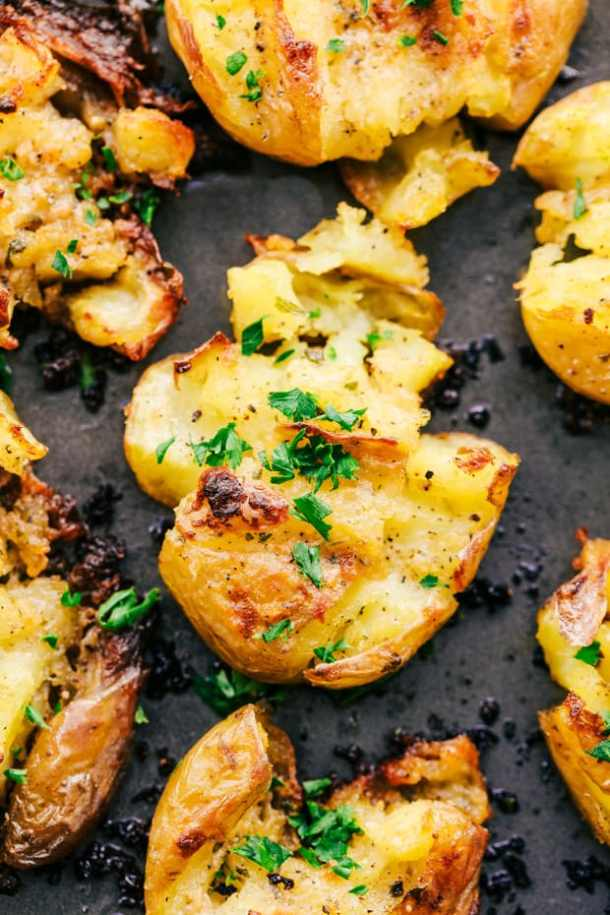 Garlic Ranch Smashed Potatoes -- part of Loaded Potato Recipes that make the PERFECT Dinner Side Dish