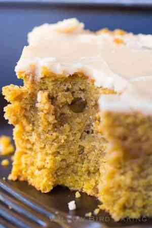 Brown Butter Pumpkin Snack Cake with Crackle Icing