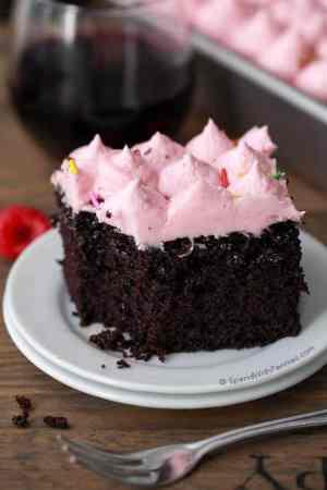 Red Wine Chocolate Cake with Raspberry Buttercream