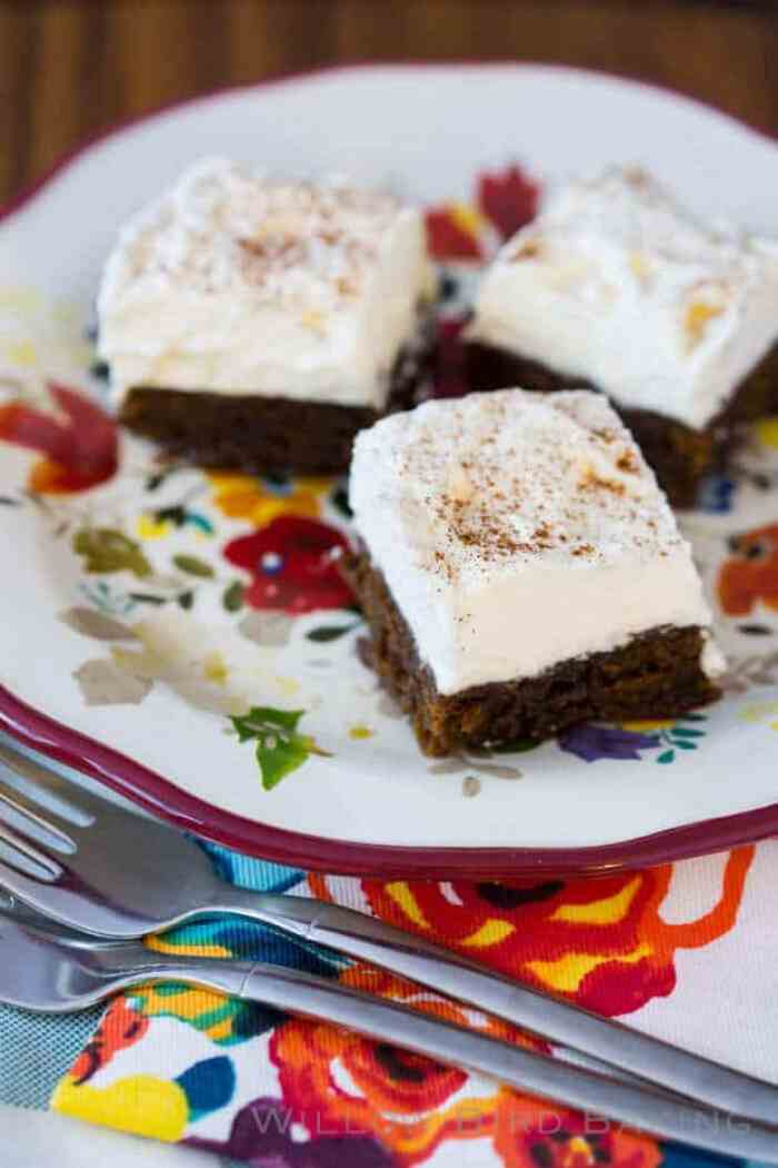Spiked Gingerbread Cream Bars