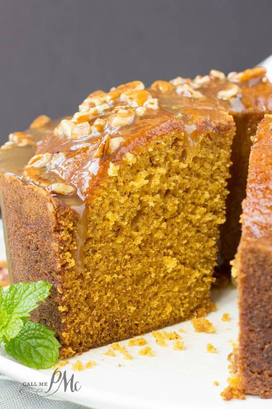 I love this Praline Glazed Pumpkin Pound Cake. It's soft, springy, moist and fluffy. Smothered in a pecan praline sauce makes it even more rich and decadent.