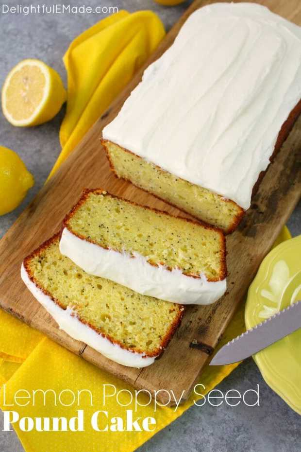 A seriously amazing lemon cake recipe! Much like lemon poppy seed muffins and quick bread, this super moist Lemon Poppy Seed Pound Cake is loaded with delicious lemon flavor. Topped with a wonderfully creamy lemon icing, this pound cake recipe is a keeper!
