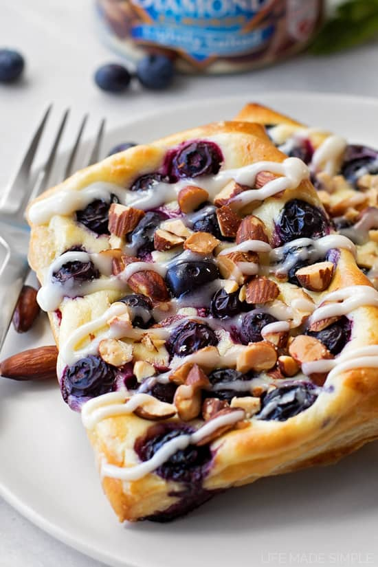 It's time to take brunch to the next level with these sweet blueberry almond cream cheese danish!!