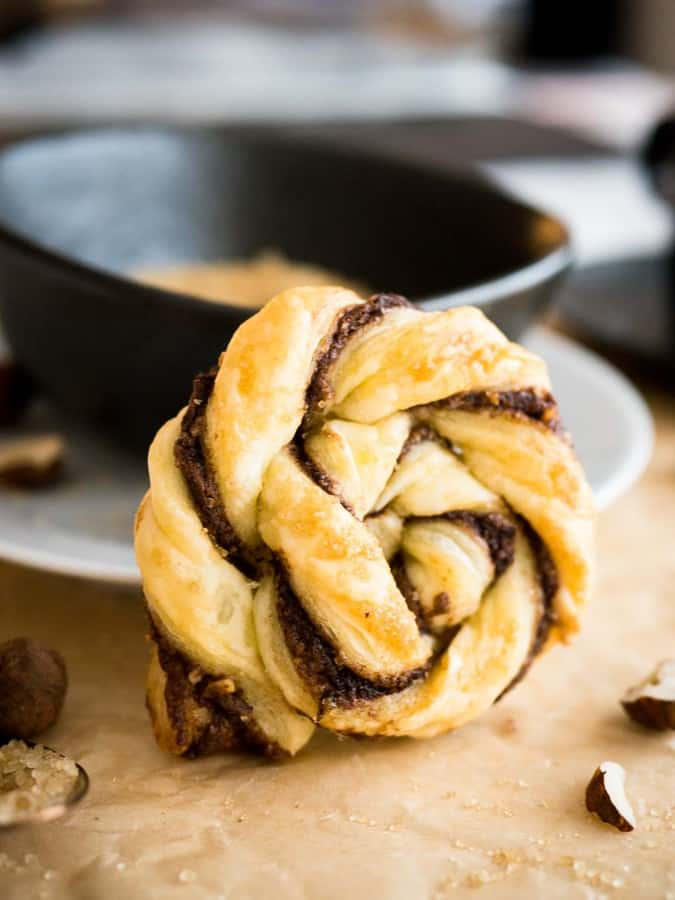 These Twisted Nutella Danish pastries are buttery, flaky, and filled with Nutella! They're easy enough to whip up on a weeknight when you need a sweet treat, yet delicious and pretty enough to serve up for guests