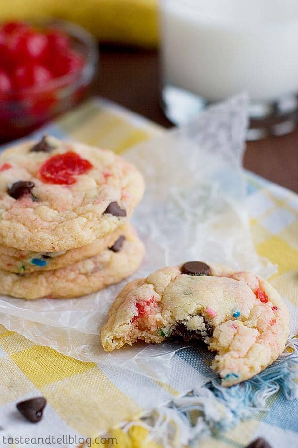 Filled with the flavors of banana, chocolate and cherries, these easy cookies start with a cake mix for easy, fun cookies.