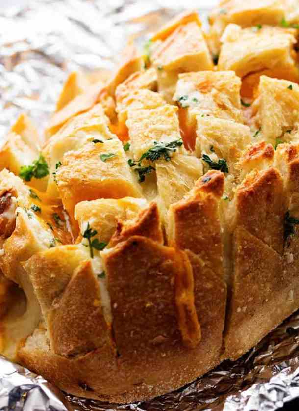 Three Cheese Garlic Pull Apart Bread--Part of The Best Pull Apart Bread Recipes