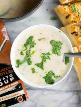 Three Cheese Chipotle Potato Soup & Garlic Bread