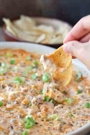 Hot Sausage Beer Cheese Dip