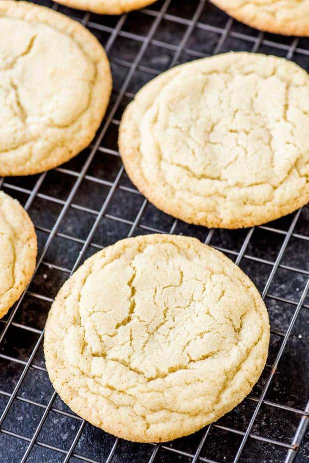 The perfect soft and chewy sugar cookies: just the right amount of softness with a tiny bit chewiness and a buttery vanilla taste.