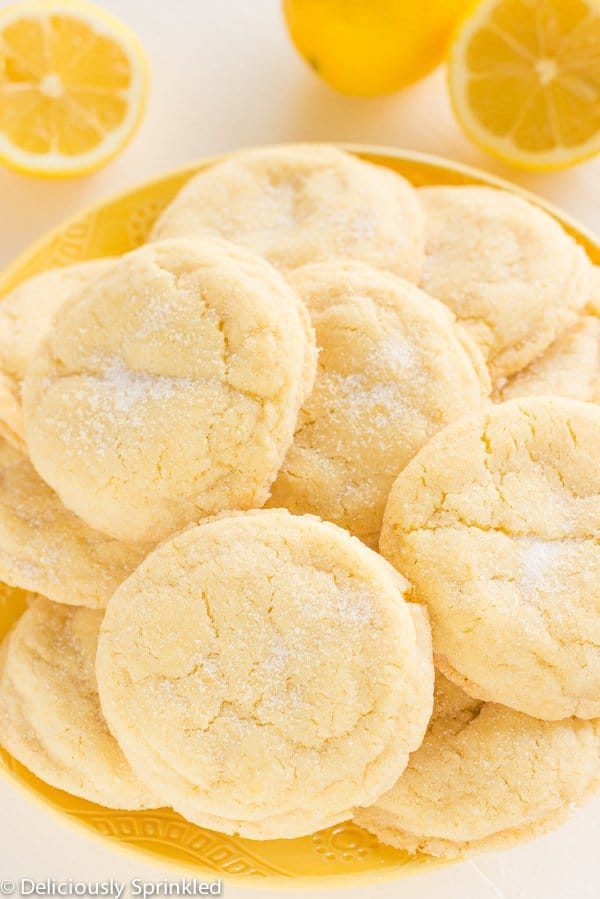 LThese Lemon Sugar Cookies are bursting with lemon flavor with the same delicious texture of a sugar cookie!