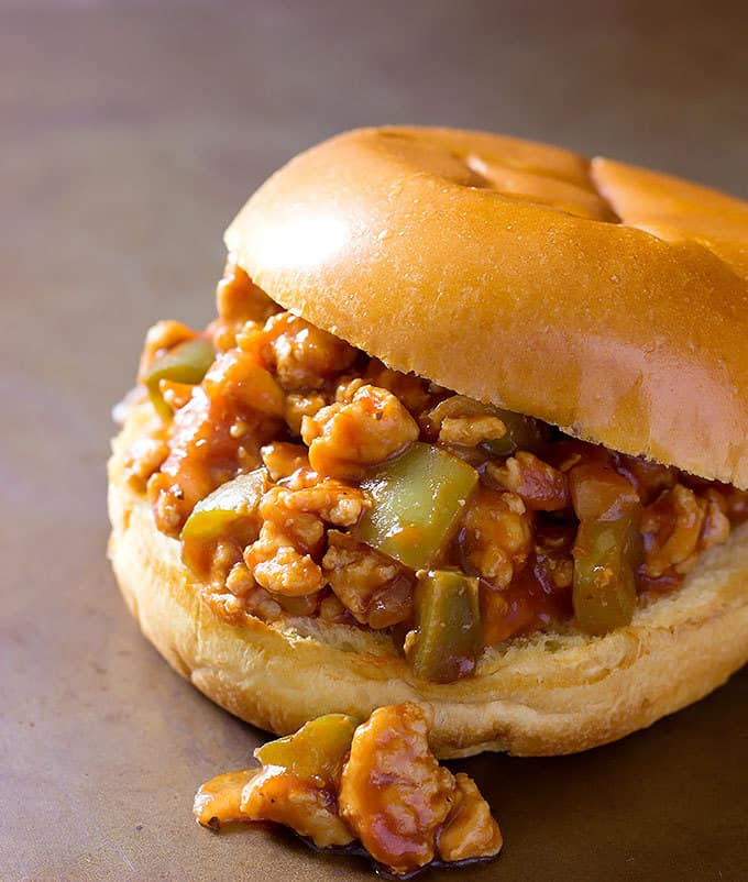 BBQ Chicken Sloppy Joes are sautéed veggies and ground chicken coated in sweet and tangy BBQ sauce.