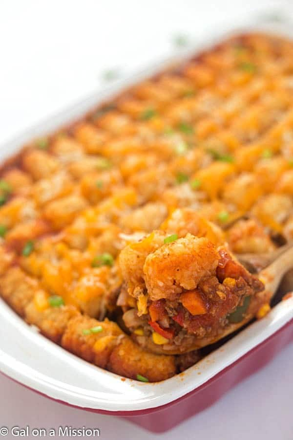 Tater Tot Sloppy Joe Casserole –A family favorite made into a casserole everyone will enjoy, even the pickiest eaters!