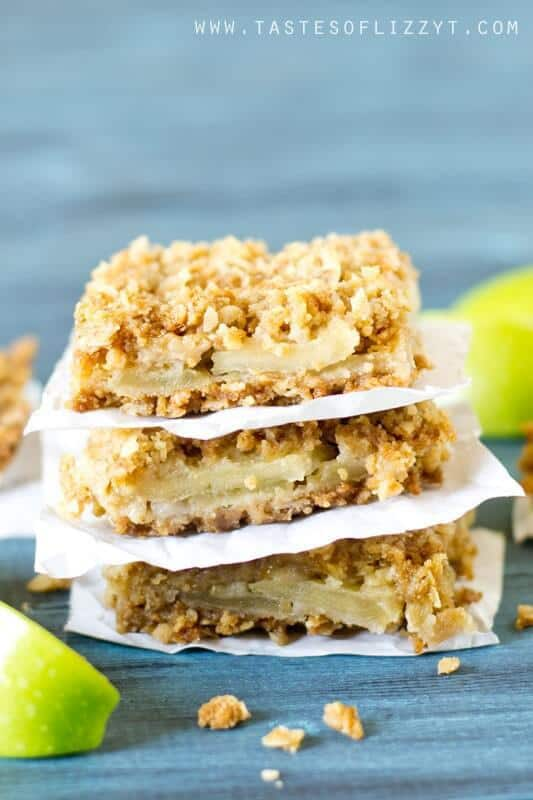 Layered Apple Oatmeal Bars make an easy apple dessert. Apple slices are stuffed between a soft, buttery, brown sugar and oatmeal crust and topping.