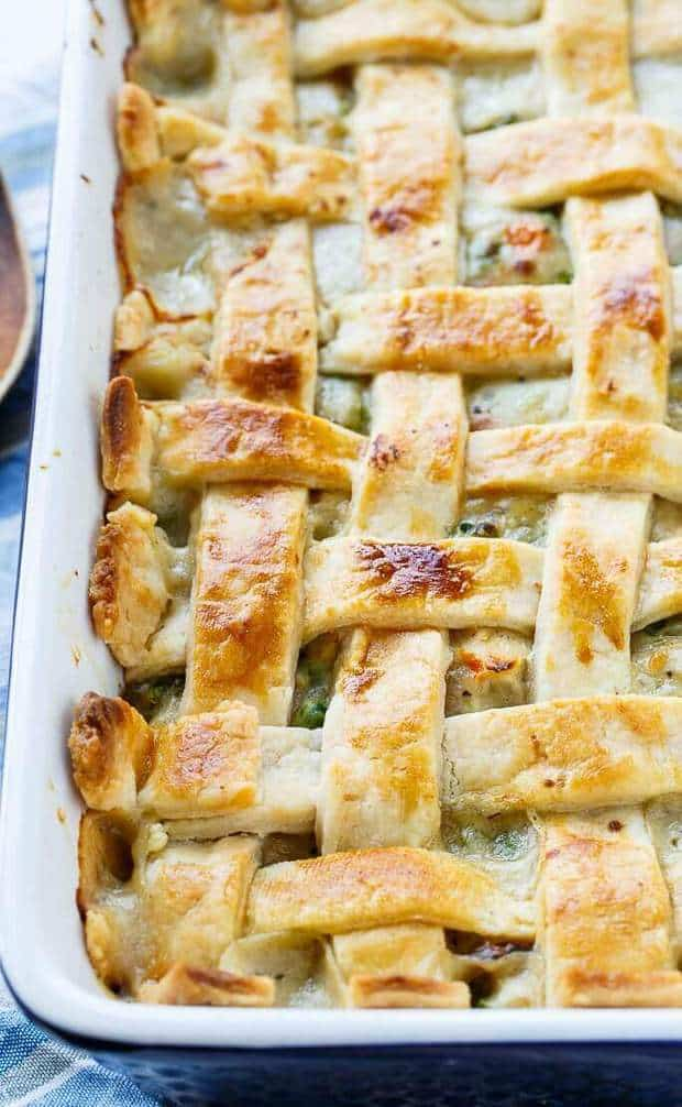 Chicken Pot Pie with Lattice Top is comfort food like no other. This family favorite has a thick and creamy filling loaded with chicken, carrots, and peas. On top is aFlaky Pie Crustdone in a lattice pattern. This recipe perfectly combines the rich and savory flavors of a chicken pot pie into a casserole form.