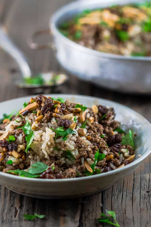Loaded Lebanese Rice with ground beef, nuts and raisins. Not your average rice!