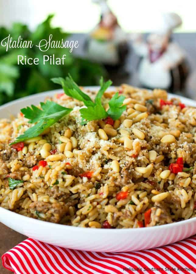 This tasty Italian Sausage Rice Pilaf is an incredible way to rock your side dish options. It's amazing as an accompaniment alongside chicken or pork and also serves as a mighty tasty bed for grilled kabobs.