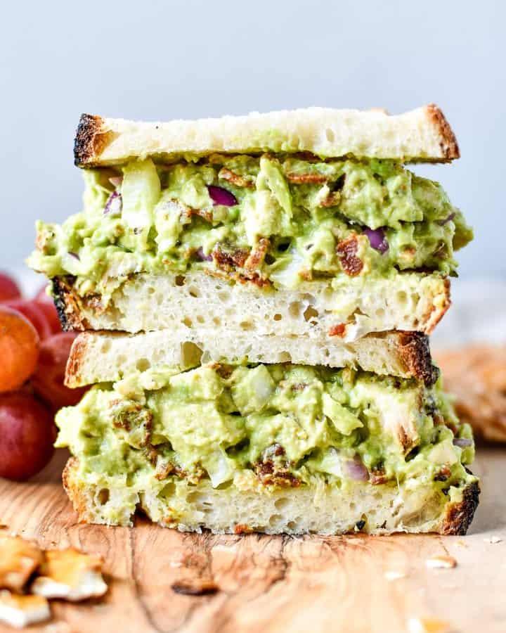 Chicken Bacon Avocado Salad Sandwich