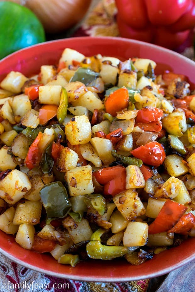 Potatoes O'Brien is a classic side dish dating back to the early 1900's made from fried, diced potatoes, plus red and green bell peppers and other seasonings.