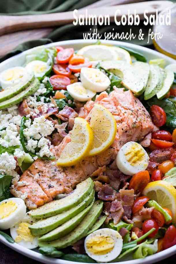 Samon Cobb Salad with Spinach and Feta