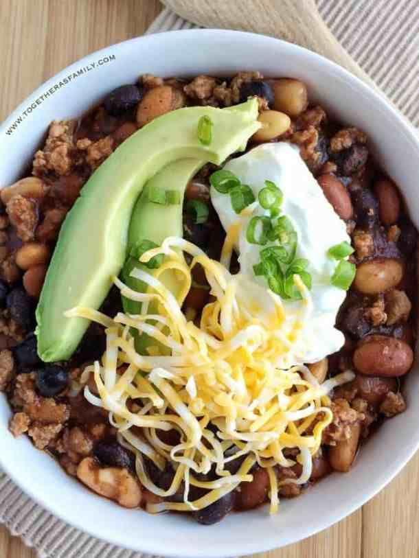 Slow Cooker 3 Bean Turkey Chili