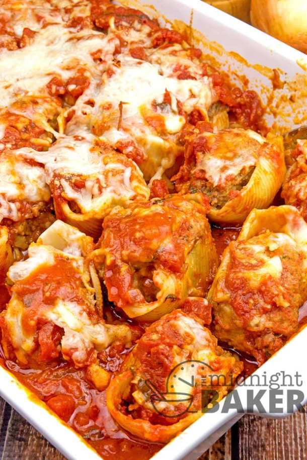 meat and cheese stuffed shells recipe