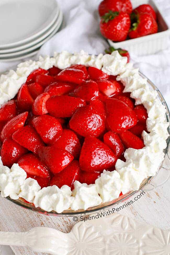 Easy Strawberry Cheesecake Pie is one of our favorite no bake summer desserts!