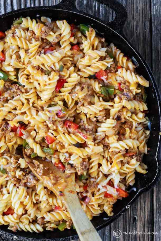One Skillet Macaroni and Cheese with Italian Sausage and Bell Peppers -- Part of The Best Macaroni and Cheese Recipes