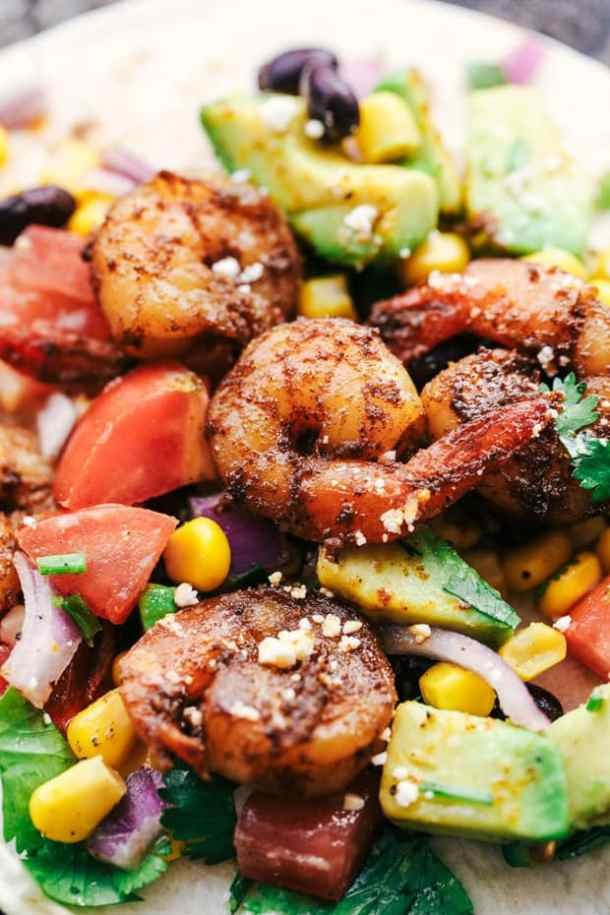 Blackened Cajun Shrimp Tacos with Avocado Salsa Recipe
