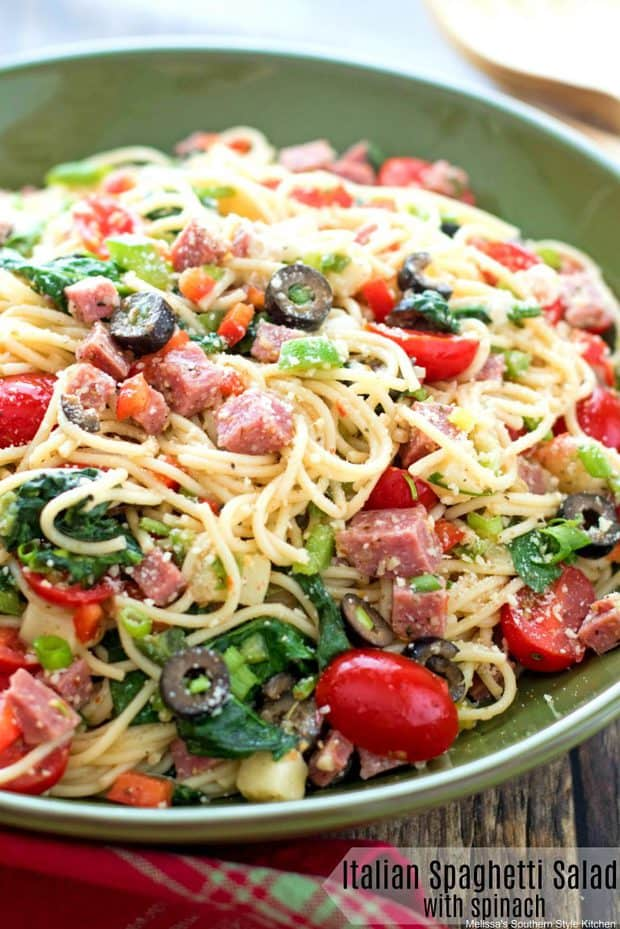 ThisItalian Spaghetti Salad with Spinachis packed with the Italian flavors we love. For this dish, al dente spaghetti noodles are tossed in a prepared Italian dressing with cubes of salami, mozzarella cheese, ripe olives, peppers, scallions and a sprinkle of Parmesan cheese. Toss in fresh baby spinach and it's practically a meal in itself. This spaghetti salad is spectacular served warm, at room temperature or chilled making it ideal for entertaining or light meals.