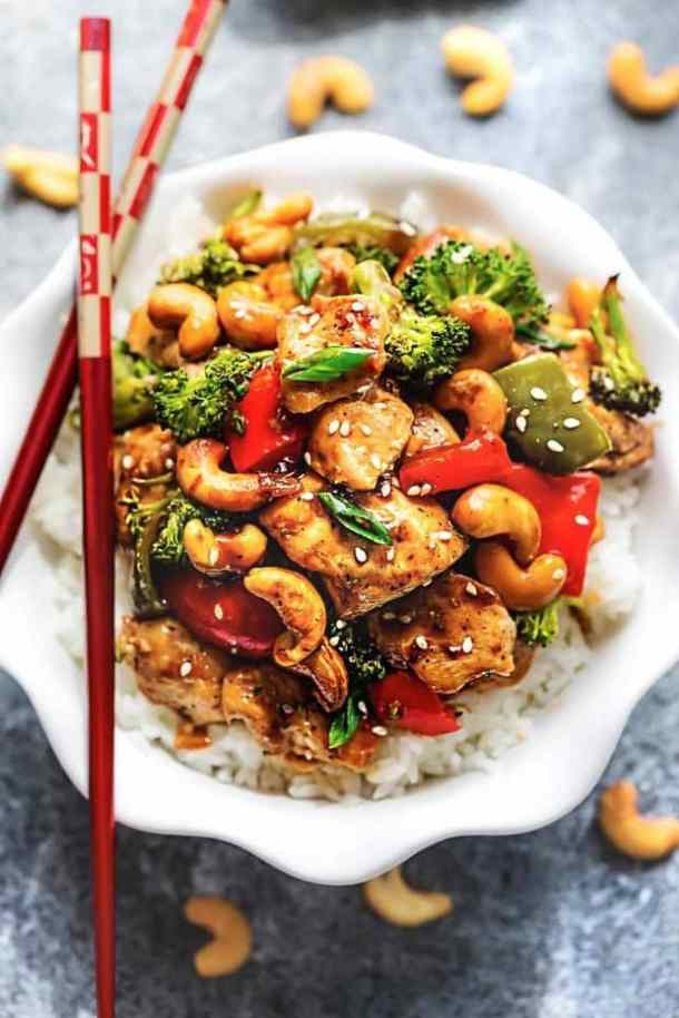Sheet Pan Cashew Chicken Recipe