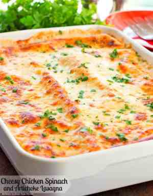 cheesy chicken spinach and artichoke lasagna