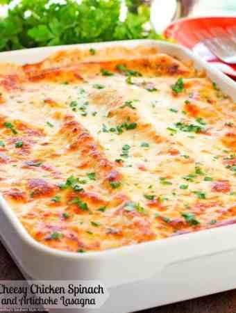 Cheesy Chicken Spinach and Artichoke Lasagna