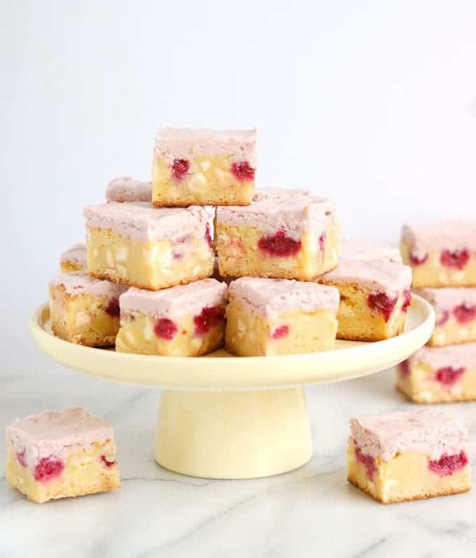 white chocolate brownies with raspberries