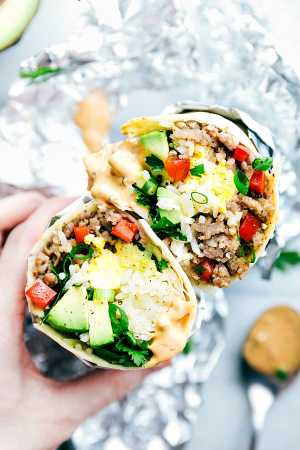 Breakfast Sausage Avocado Burritos