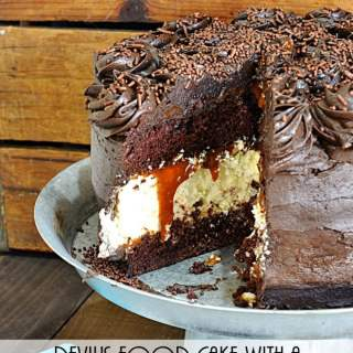 Devil's Food Cake with a Cheesecake Center